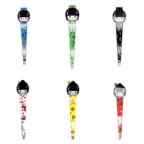 Pinkiou Cosmetic Tweezers Cute Belle Poup¨¦e Fille Pinceau Make Up Tweezers Japonaise Geisha Style (Pack de 6)
