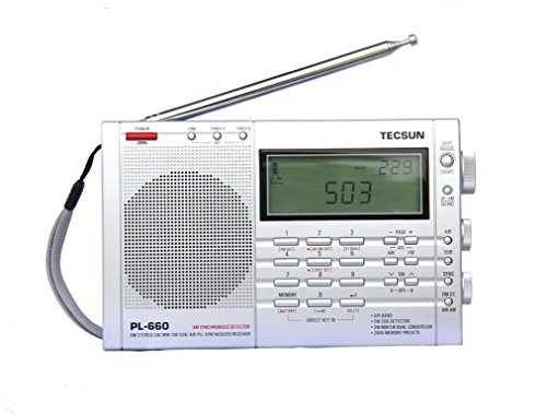 TECSUN PL-660 Dual Conversion Portable Digital Radio FM Stereo/MW/SW/LW/SSB/Air Band Receiver Time Display Alarm Clock Good Choice for Navigation and Amateur Radio Enthusiasts (660EU-Silver) (Stereo Clock Radio Alarm)