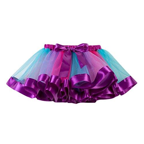 HUIHUI Kleid Mädchen, Toddler Mädchen Tutu Tüll Tanz Ballett Regenbogen Rock Sommerkleid Party Prinzessin Dress Casual T-Shirt Kleid Frühlings Herbst Cocktailkleid (L (7-10Jahr), Lila) - Tanz Mädchen T-shirt