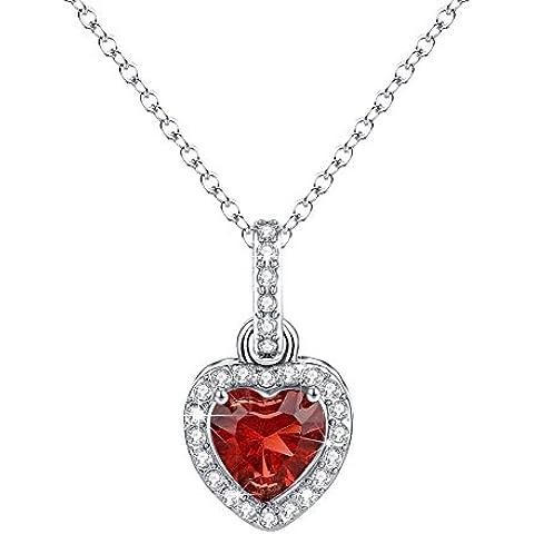 Cuore collana di diamanti Halo pendente della CZ Gioielli Birthstone per le donne L'amore regalo di Natale per lei