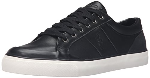 Ralph Lauren Mens Ian Smooth Sport Leather Trainers Noir