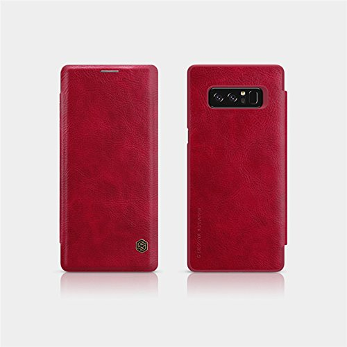 Sanchar's Qin Vintage Leather Case For Samsung note 8 Luxury Flip Cover Case for Samsung note8 Wallet Cases with Card Slot - wine Red