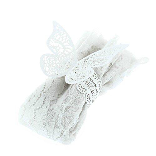 Yalulu 50 x Handgemachte Spitze Weiß Papier Schmetterling Serviettenring für Hochzeit, Taufe, Kommunion, Graduierung, Geburtstag, Weihnachten, bankett oder Verschiedene Anlässe