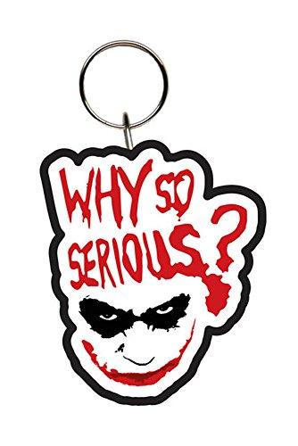 Batman–The Dark Knight–Joker Why Serious Rubber Keychain Keyring–Size approx. 5cm