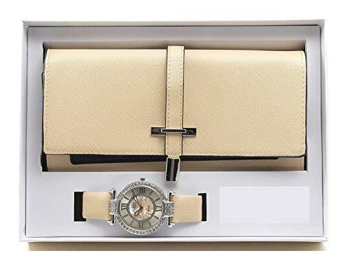 Damen Essentials ST10234 Armbanduhr, 2-lagiges Design, Geschenkset, Nude -