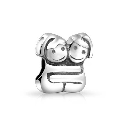 Bling Jewelry 925 Silver Hugging Sisters Twin Girl Bead Charm
