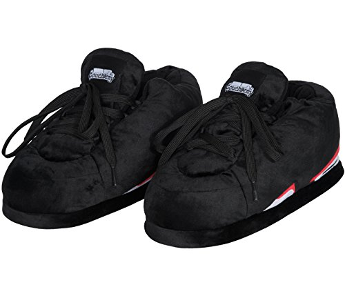 Coucharmy Jay Six Hausschuhe Unisex Premium Home Sneakers Pantoffel (36-46) (S=EU 37-39, Schwarz/Rot/Weiß) (Air Jordan Haus)
