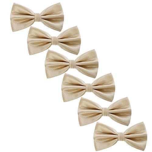 6Stk Männer Pre gebunden Formal Fliegen - Solide Plaid Einstellbar Krawatte zum Teenager Männer Hochzeit Parteien (Champagner Plaid) Pretied Bowties