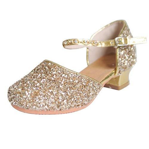 EUCoo MäDchen Latin Dance Schuhe Casual Sandalen Weichen Unteren Pailletten Kristall AnfäNger Zeigen Tanzschuhe Sandalen(Gold, 27)