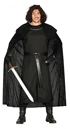 Kostüm Krieger - Herren-Kostüm Mittelalter-Wächter GoT WoW LARP Krieger Warrior Umhang mit Pelzkragen, Größe:XL