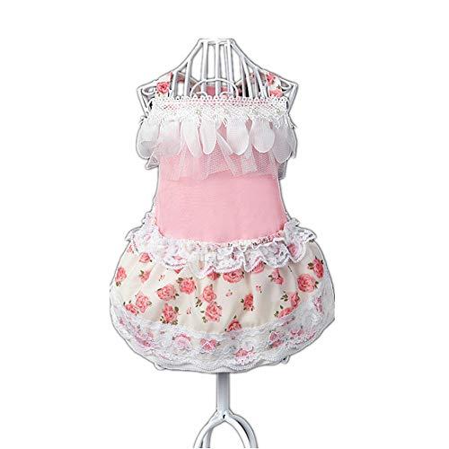 PZSSXDZW Pet Kleidung Pet Rock Chiffonrosenrock Hundebekleidung Kleidung für Hunde Frühlings- und Sommerkleidung Pink Large