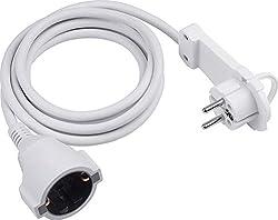 Meister Schutzkontakt-Verlängerung - Extraflacher Stecker - 2 m Kabel - weiß - IP20 Innenbereich / Verlängerungskabel mit Kinderschutz / Schuko-Verlängerung mit Flachstecker / Stromkabel / 7432230