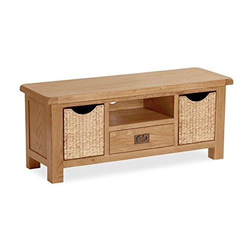 Salisbury en chêne Grand meuble TV/Hifi avec paniers/divertissement en chêne massif avec support de stockage/finition rustique