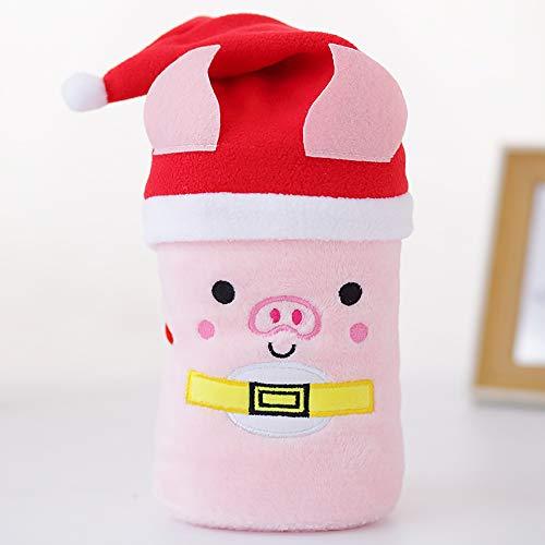 Cadeau créatif Couverture de Bande dessinée Velours Santa Elk Noël Bonhomme de Neige Porc Chapeau de Laine Flanelle Couverture 80 * 100 cm,Piglet