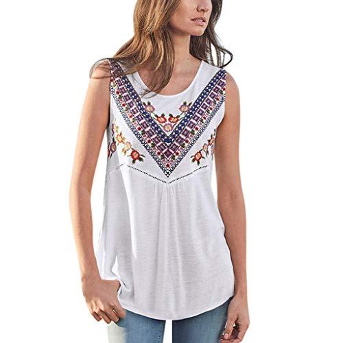 POPLY Damen Tank Tops Frauen Sommer Mode Lässig O-Ausschnitt Bohemian Gedruckt Aushöhlen Weste Pullover Tops Ärmellose T-Shirt