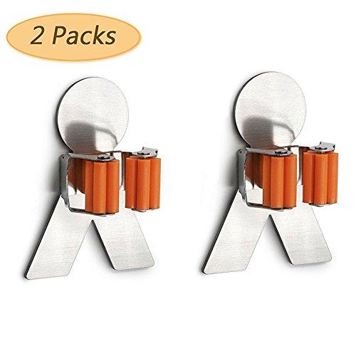 Edelstahl Mop und Besen Halter mit 3M selbstklebend Wand montiert Mop Besen Lagerung Organizer Rack 2Pcs Schuppen Organizer System