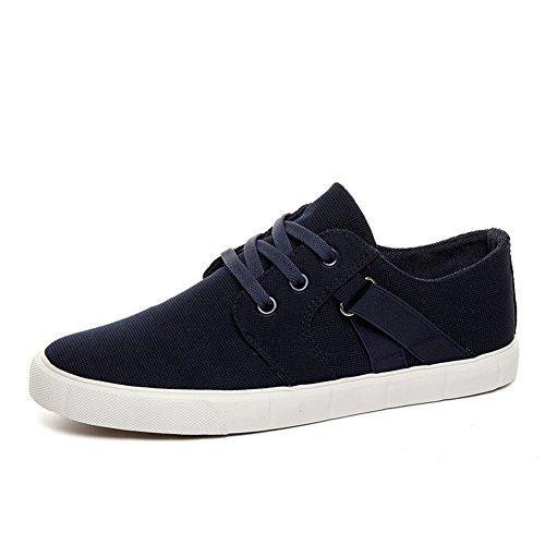 Herren Segeltuch Flache Loafers Skateboard Modische Mokassins Lässige Slipper Mit Schnürsenkel Blau