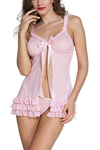 Billebon Women\'s Lycra Silk Nightwear Babydoll Dress with G-String Panty (Pink, Free Size)