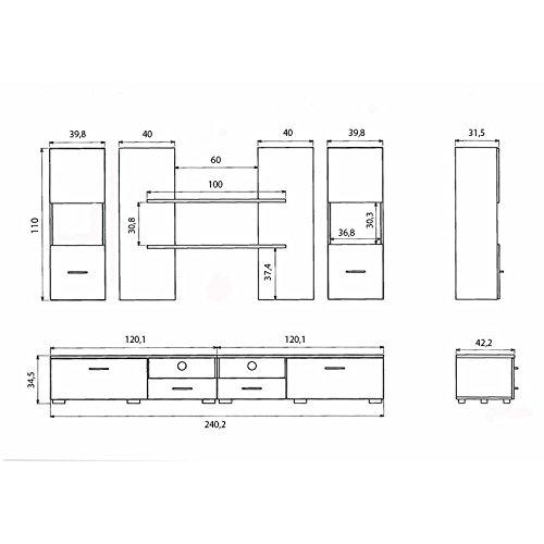 AVANTI TRENDSTORE – Wohnwand in Eiche/weiß Dekor, ca. BHT 240x185x45 cm - 2
