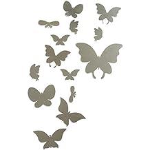 Bonigar 3D Pegatinas Decorativas Efecto de Espejo Vinilo Mariposas Plata Extraíble Mosaico Decoración para Pared, Cristal, Puerta ,14 Piezas