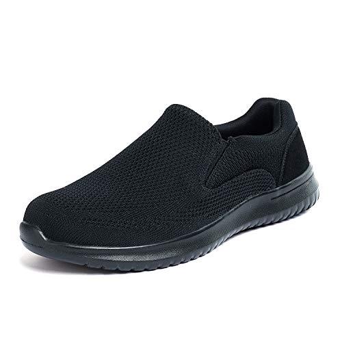 Dream Pairs Zapatillas Deporte Sin Cordones para Hombre Walk-Easy-01 Negro 42 EU/9 US