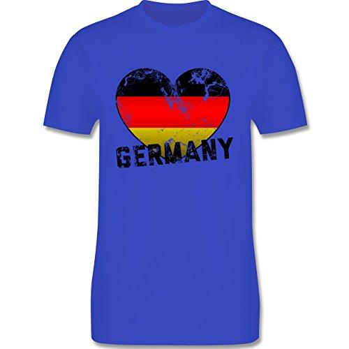 EM 2016 - Frankreich - Germany Herz Vintage - Herren Premium T-Shirt Royalblau