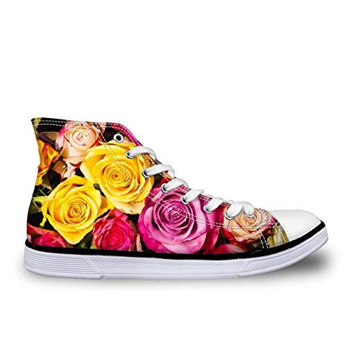 Floral Designs Hi Tops Women Lady Lace Up Plimsolls Flat Trainers Canvas Pumps Rose UK 8