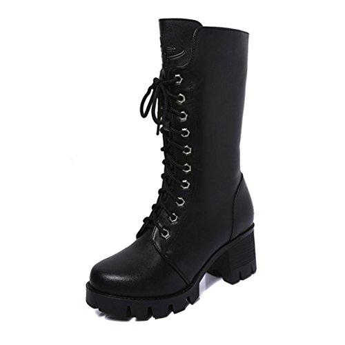 mit Dicken Sohlen mit Damen Martin Stiefel Schuhe Stiefel Frauen Ankle Booties Leder Ritter Damen Martin Stiefel Zip Cowboy Schuhe 35-39EU (37 EU, Schwarz) ()