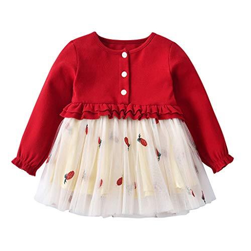 (MRULIC Baby Kleid Bluse Baby Mädchen Prinzessin Kleid Geburtstagsparty Kleinkind Baby Kind Mädchen Lange Ärmel Gestrickt Bow Tutu Prinzessin Kleid(Rot,Höhe:100-110cm))