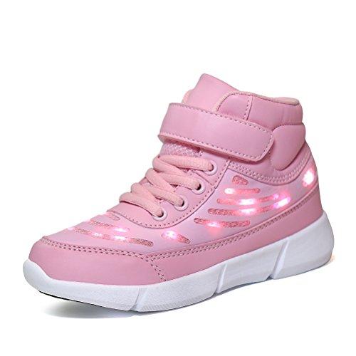 Dannto Kinder LED Schuhe Leuchten Sportschuhe Leuchtschuhe Blinkschuhe USB Aufladen Farbwechsel Sneakers Turnschuhe für Mädchen Jungen(Rosa,32)