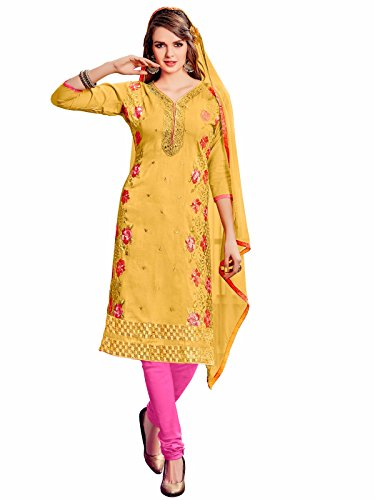 Nikki Fab Yellow Cotton Embroidered Unstitched Partywear Dress Material.