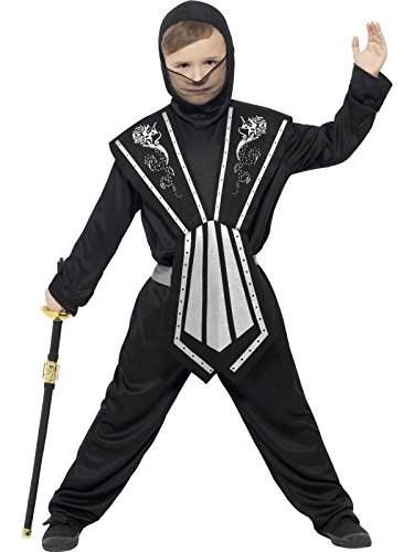 der Jungen Ninja Kostüm, Alter: 7-9 Jahre, Größe: M, schwarz/silber (Silber-ninja-kostüm)