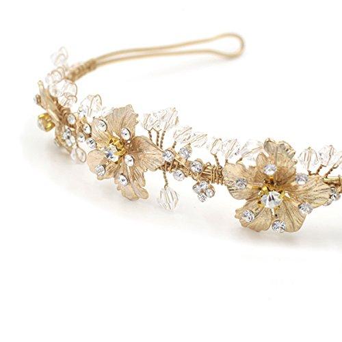 Butterme Braut Vintage Blumen-Kristall Strass-Stirnband Stirnband Hochzeit Haarschmuck - 3
