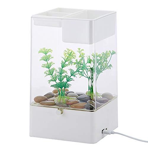 REWQ Aquarium, selbstreinigendes Wasser faul Mini kleine Acryl Schreibtischoberfläche transparent Aquarium-White