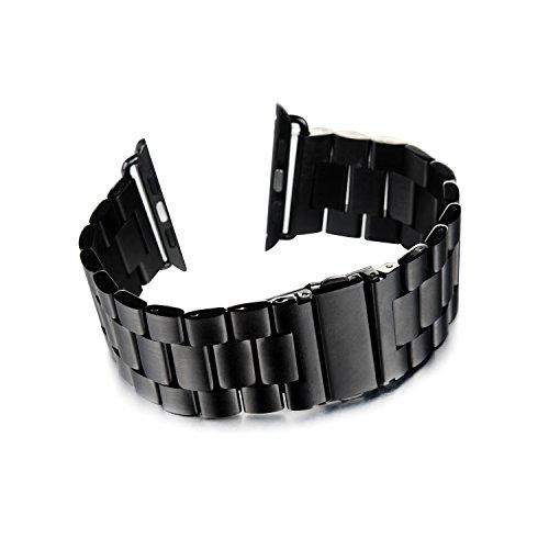 Apple Watch Armband, Tevina Schwarz Premium Edelstahl iWatch Armband Ersatzarmband Uhrband für 42mm Apple Watch
