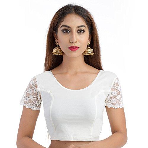 Lionize Women's Lycra Round Neck Stretchable Readymade Blouse (White)