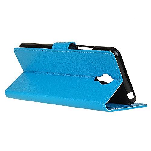 Klassische Litchi Texture PU Leder Schutzhülle Horizontale Folio Flip Stand Case Cover mit Kartensteckplätzen für Acer Z6 Plus ( Color : Rose ) Blue