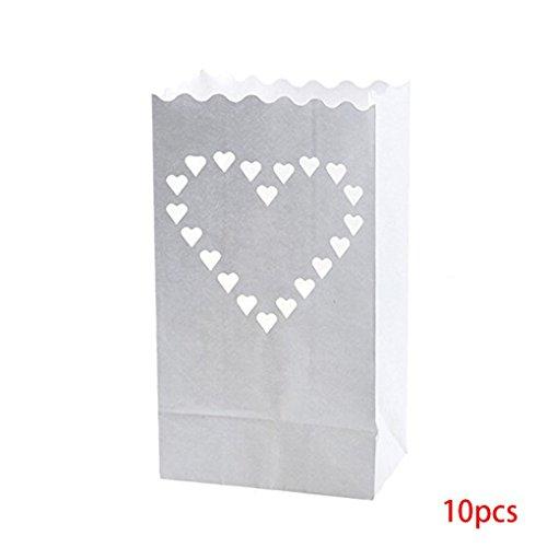 Floridivy 10pcs Papierlaterne-Beutel-Tee-Licht-Kerze-Halter für Heim Romantische Hochzeit Dekoration 2#