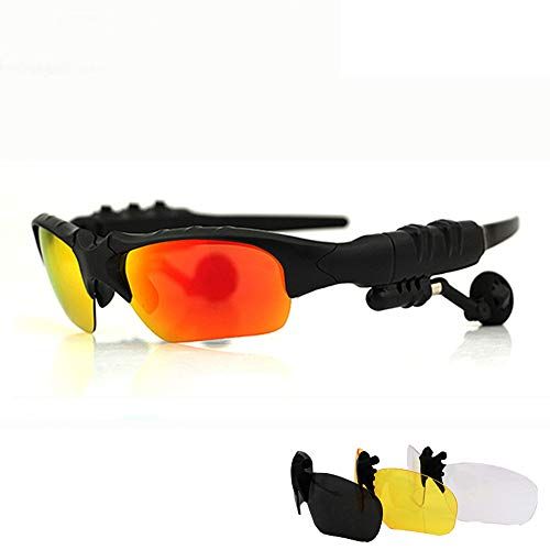 JAY-LONG Bluetooth-Sportbrille, Polarisierende Augenschutzbrille, Blendschutz, Fahrtwindbrille, Mit StereokopfhöRer,red