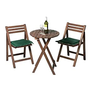 Small Wooden Bistro Table And 2 Chairs - Acacia Hardwood Dining Set Amazon.co.uk Garden U0026 Outdoors