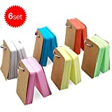 Natuce 498PCS Kraft Paper Binder Ring Easy Flip Flash Card Study Cards/ Memo Scratch Pads/ Bookmark/ DIY Greeting Card/ Index Card Stock/ Note Card, 6 Set