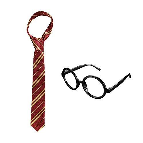 (ULTPEAK Harry Potter Gryffindor Krawatte und Gläser Halloween Kostümieren für Kinder, Zubehörteil for Halloween Party)