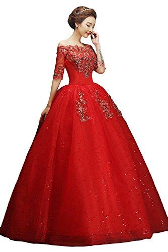 Ivydressing Romantisch Lang Steine Abendkleider Brautkleider Hochzeitskleider Stil-E