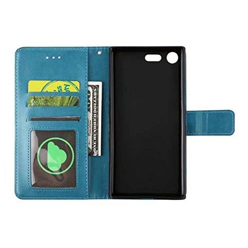 YHUISEN Embossed Half Flower Design [Handgelenkschlaufe] Premium PU Leder Brieftasche Beutel Flip Stand Case für Sony Xperia XZ Premium ( Color : Brown ) Blue
