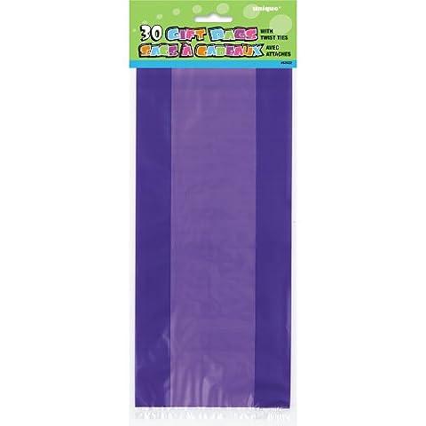 Unique Party - 62025 - Paquet de 30 Sacs Cadeaux - Cellophane - Violet