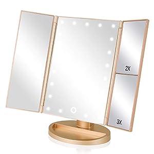 EASEHOLD Schminkspiegel Beleuchtet, Kosmetikspiegel mit LED Licht Tischspiegel faltbar dimmbar 180 Grad für Schminken, Rasieren