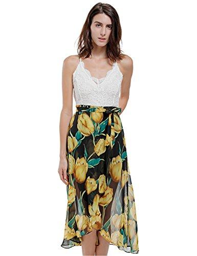 Blooming Jelly Asimmetrico Vestito Floreale Allacciato Al Collo A V Profondo Delle Donne Gelatina Yellow