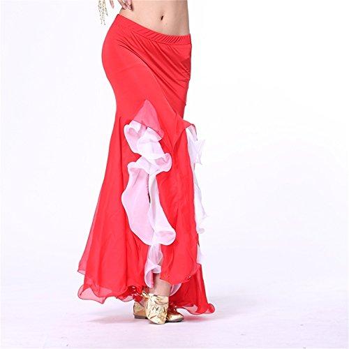 Damen Tanzkleidung Bauchtanz Rock Tribal Lotus Edge Tanzen Kost¨¹me Maxi Rock Mermaid Kleid Red