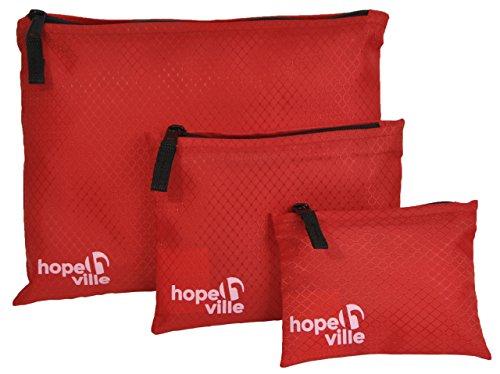 HOPEVILLE Reißverschlusstaschen-Set, 3 verschieden große Reiseorganizer Taschen für Dokumente und Reiseutensilien, Premium Packbeutel-Set für Reise, Freizeit und Ausflug (Rot)
