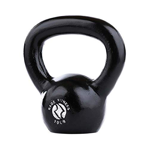 Rage Fitness Cast Iron Kettlebell, Black, Great for Cross Training, develops Strength, Power, Endurance and Dynamic Flexibility, 30 lb